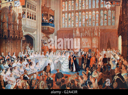 The marriage of the Prince of Wales, later Edward VII, in 1863 to Alexandra of Denmark.  Edward VII, 1841 –  1910. - Stock Photo