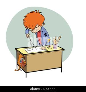 Schoolboy boy drawing lesson designer engineer - Stock Photo
