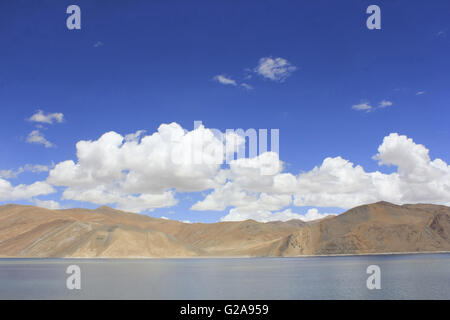 Pangong Tso (or Pangong Lake; Tso: Ladakhi for lake) in the Himalayas, India - Stock Photo
