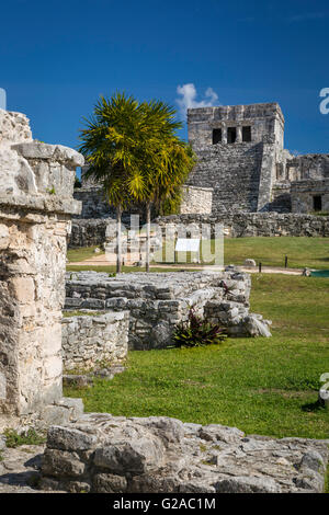Ruins of the Mayan temple grounds at Tulum, Quintana Roo, Yucatan, Mexico - Stock Photo