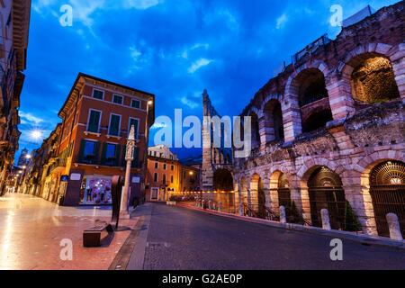 The Verona Arena on Piazza Bra in Verona Verona, Veneto, Italy - Stock Photo