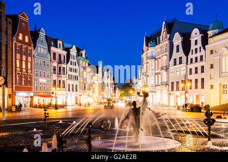 Fountain on University Square in Rostock Rostock, Mecklenburg-Vorpommern, Germany - Stock Photo