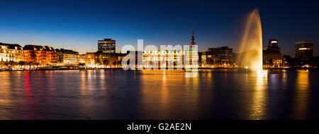 City architecture by Binnenalster in Hamburg Hamburg, Germany - Stock Photo