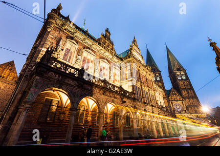 Bremen Rathaus and St Peter's Cathedral on Market Square Bremen, Germany - Stock Photo