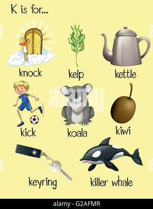 Flashcard Of K Is For Kick Illustration Stock Vector Art