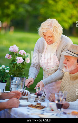 Senior woman serving ring cake at birthday party in a garden - Stock Photo