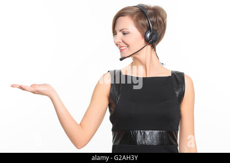 woman pressing high tech type of modern buttons on a virtual background - Stock Photo