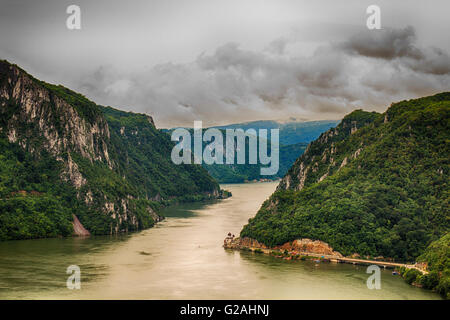 Narrowest part of the gorge on the Danube between Serbia and Romania, also known as the Iron Gate. - Stock Photo