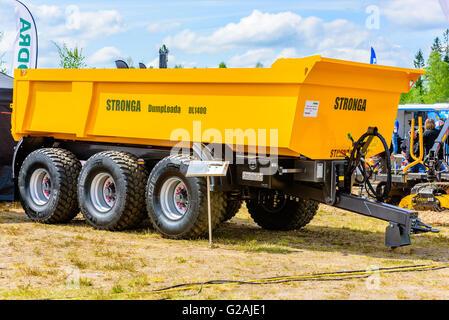 Emmaboda, Sweden - May 14, 2016: Forest and tractor (Skog och traktor) fair. Stronga Dumploada DL1400 heavy load - Stock Photo