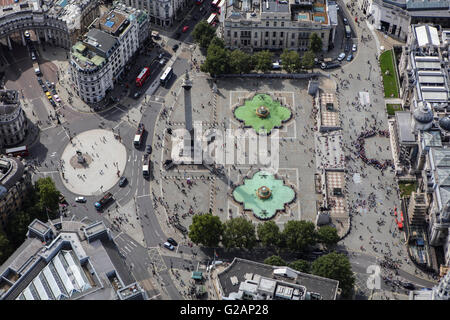 An aerial view of Trafalgar Square in London - Stock Photo