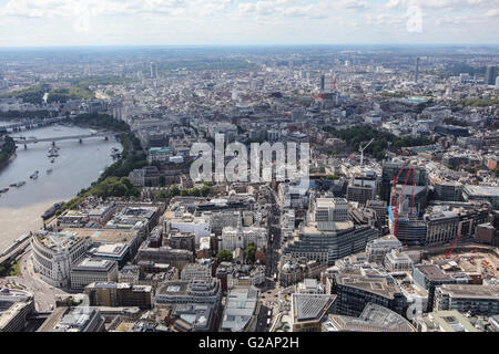 An aerial view of Central London looking from the area of the Old Bailey towards the West - Stock Photo