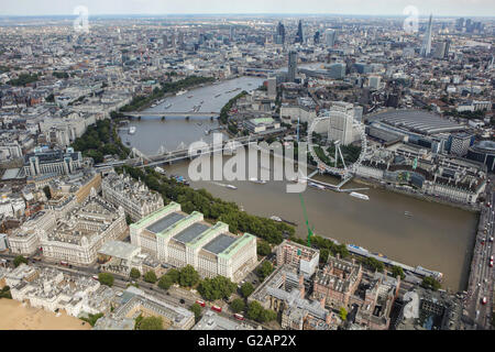 An aerial view of London, looking from Westminster towards the City of London - Stock Photo