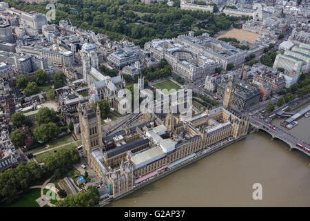 An aerial view of Westminster and the Houses of Parliament, London - Stock Photo