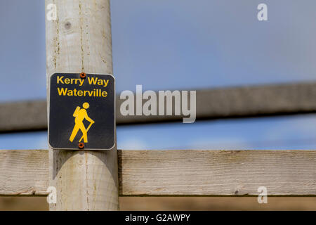 Signpost of The Kerry Way, one of Ireland's longest signposted walking trails, along the Ring of Kerry, County Kerry, - Stock Photo