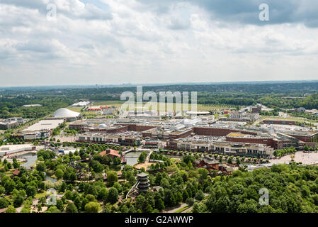 Oberhausen, Germany - May 21, 2016: Aerial view of the shopping centre Centro in Oberhausen, Germany. Centro is - Stock Photo