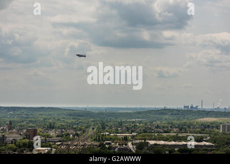 Oberhausen, Germany - May 21, 2016: Aerial view of Ruhr area and its plants as seen from the Gasometer in Oberhausen - Stock Photo