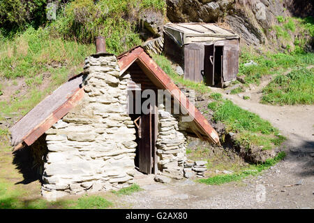 Restored Huts, Arrowtown Chinese Settlement - Stock Photo