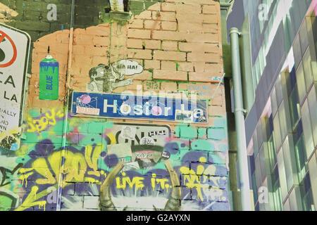 Famous Hosier Lane in Melbourne - Australia - Stock Photo