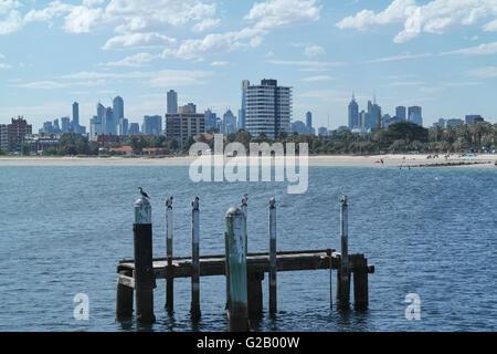 View from St kilda beach to Melbourne downtown, Victoria - Australia