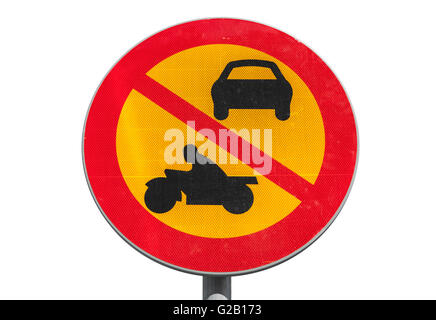 European round red and yellow traffic sign isolated on white, the passage of vehicles and motorcycles is prohibited - Stock Photo