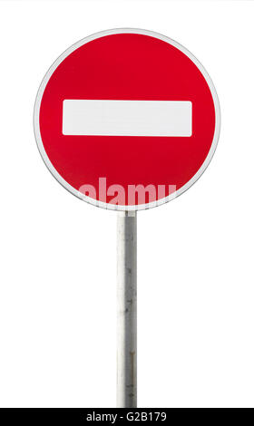 Round red road sign on metal pole. No Entry road-sign isolated on white - Stock Photo