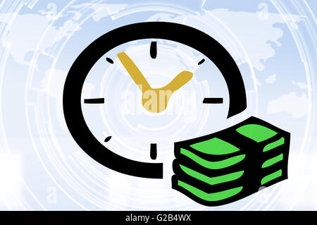 Time is money concept with clock, banknotes and world map background - Stock Photo