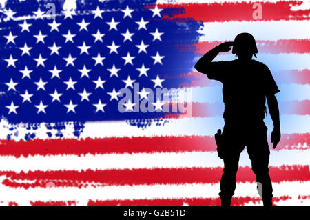 USA patriot soldier silhouette concept on american flag background - Stock Photo