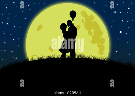 Couple silhouette on moon light illustration as love and romance concept - Stock Photo