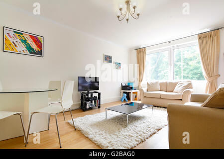 High London, Highgate. Open plan living and dining area with large window and contemporary furniture. - Stock Photo