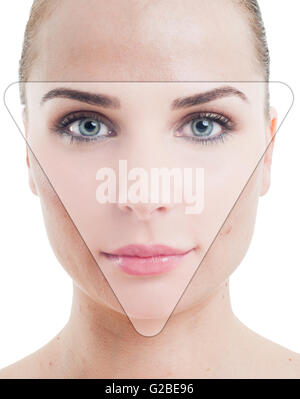Retouched photo portrait of a woman with perfect skin as correction and anti-aging concept - Stock Photo
