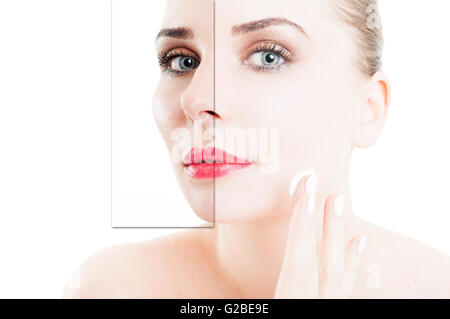 Closeup portrait of woman using cream for correction of wrinkles on half face isolated on white studio background - Stock Photo
