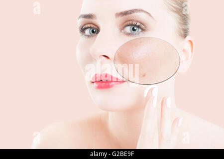 Young woman portrait with different skin tones against pink or purple background as beauty treatment concept - Stock Photo