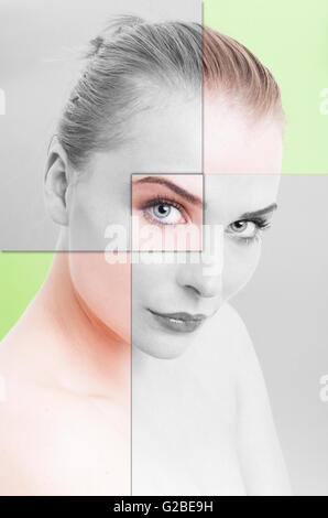 Collage portrait of woman perfect skin with filter applied against green background - Stock Photo