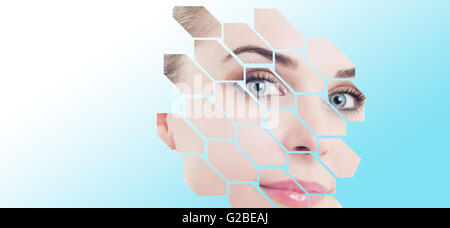 Close-up of woman face with perfect spotless skin and modern design over - Stock Photo