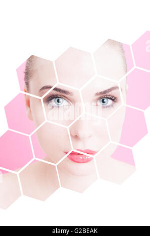 Portrait of beautiful flawless female with divided design against pink or purple background as freshness and facial - Stock Photo