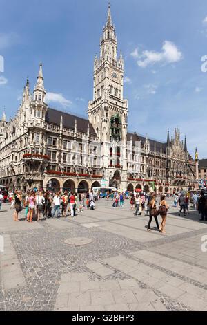 New Town Hall on Marienplatz square, Munich, Upper Bavaria, Bavaria, Germany - Stock Photo