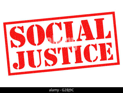 SOCIAL JUSTICE red Rubber Stamp over a white background. - Stock Photo