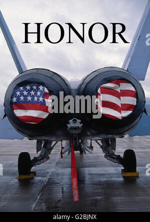 Poster - HONOR - McDonnell Douglas F/A-18 Hornet twin-engine supersonic all-weather carrier-capable multirole combat - Stock Photo