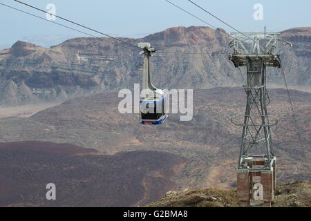 Cable car in Parque Nacional del Teide, Tenerife. It reaches within 200m of the summit of Pico del Teide, the highest - Stock Photo