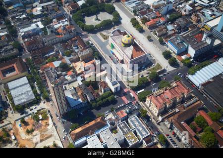 Aerial view of Teatro Amazonas (Opera House) and city centre, Manaus, Amazonas, Brazil - Stock Photo