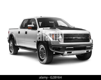 Silver 2011 Ford F-150 Raptor SVT truck - Stock Photo