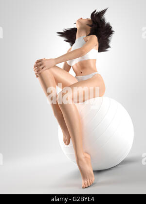 Woman with a fit slim body sitting on a white exercise ball, 3D illustration - Stock Photo