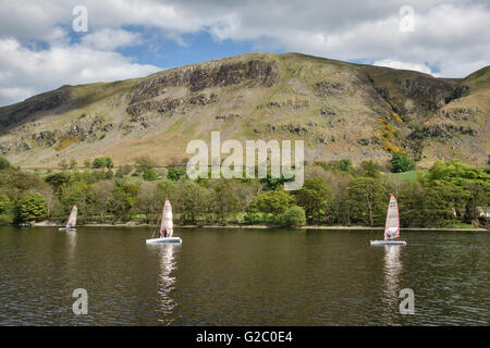 Ullswater (in the Lake District), Cumbria, UK. Sailing dinghies on the lake in early summer - Stock Photo
