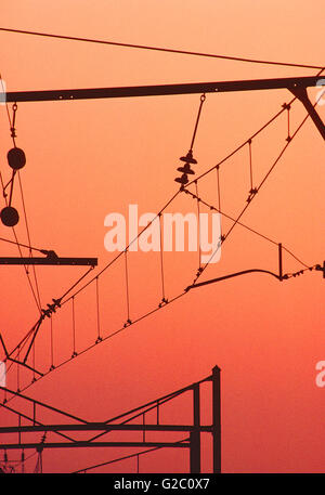 Dusk view of electrical transmission yard; Limerick Nuclear Power Plant; Limerick; Pennsylvania; USA - Stock Photo