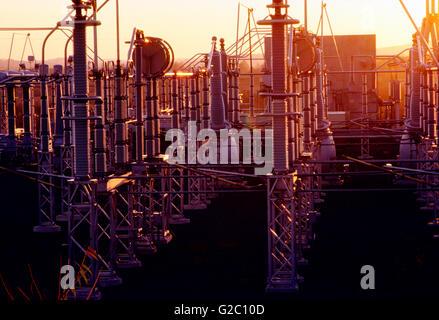 Electrical transmission yard at sunset, Limerick Nuclear Power Plant, Limerick, Pennsylvania, USA - Stock Photo