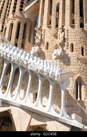 Spain Catalonia Barcelona Eixample Sagrada Familia cathedral detail begun 1882 Gaudi masterpiece - Stock Photo