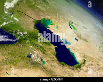 Caucasus with surrounding region with surrounding region as seen from Earth's orbit in space. 3D illustration with - Stock Photo