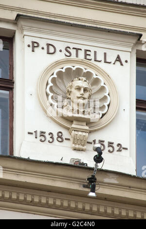 Italian Renaissance architect and sculptor Paolo della Stella (+1552). Stucco portrait bust by Czech sculptor Bohuslav - Stock Photo
