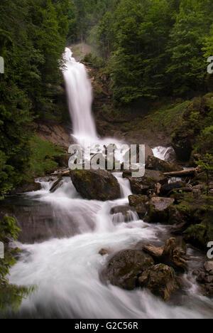 The Giessbach falls near the Swiss town Brienz - Stock Photo