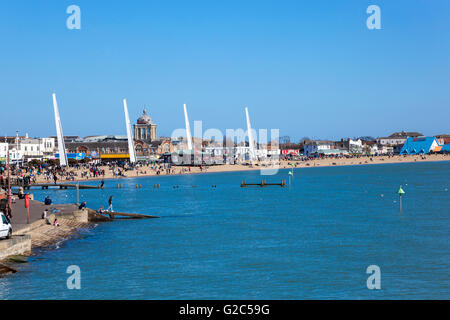 Southend-on-Sea and seen from the pier, UK - Stock Photo